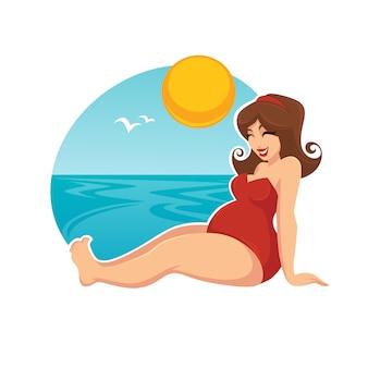 Sommerferien für glückliche schwangere frau im karikaturstil
