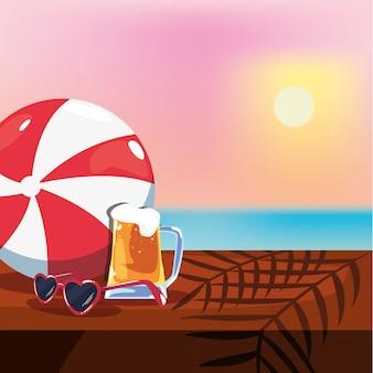 Sommerferien illustration mit bier, sonnenbrille und meerblick