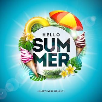 Sommerferien-illustration mit blume und tropischen palmblättern