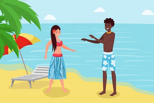 Sommerferien im tropischen luxusresort. nettes paar, freundin und freund, die auf küste reaxing sind