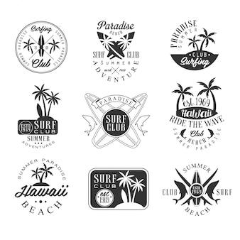 Sommerferien in hawaii schwarzweiss-zeichen-entwurfs-schablonen mit text und werkzeug-silhouetten