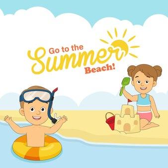 Sommerferien, kleine kinder spielen am strand