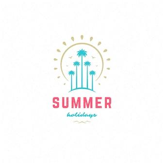 Sommerferien-label- oder abzeichen-typografie-slogan-design für poster- oder grußkarten-vektorillustration. tropisches inselsymbol.