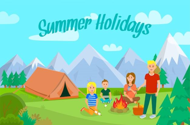 Sommerferien mit familien-flachem fahnen-plan.