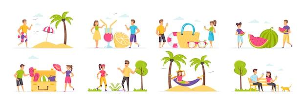 Sommerferien mit menschen charakteren in verschiedenen szenen und situationen.