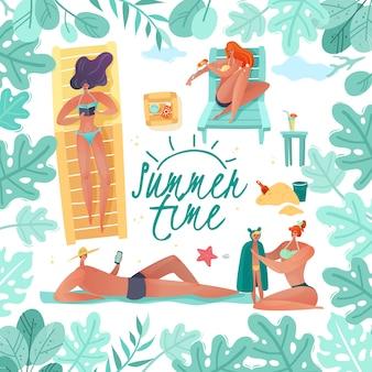 Sommerferien rahmenillustration. quadratische illustration der strandleute gerahmt durch tropisches laub auf einem weißen hintergrund mit den strandbesuchern, die frauen einen mann und ein kind sonnenbaden