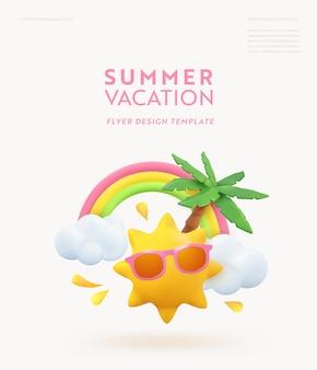 Sommerferien realistische designvorlage 3d tropische palme