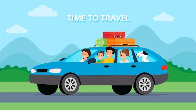 Sommerferien-reisezeitkonzept. glücklicher familienausflug mit dem auto. flacher stil. vektorillustration.