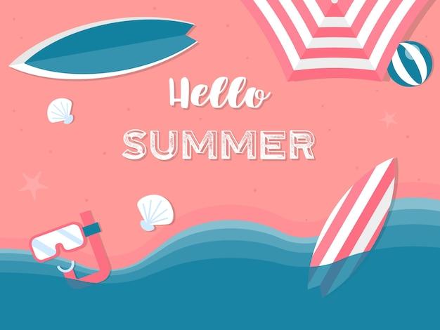 Sommerferien, sommerstrandillustration