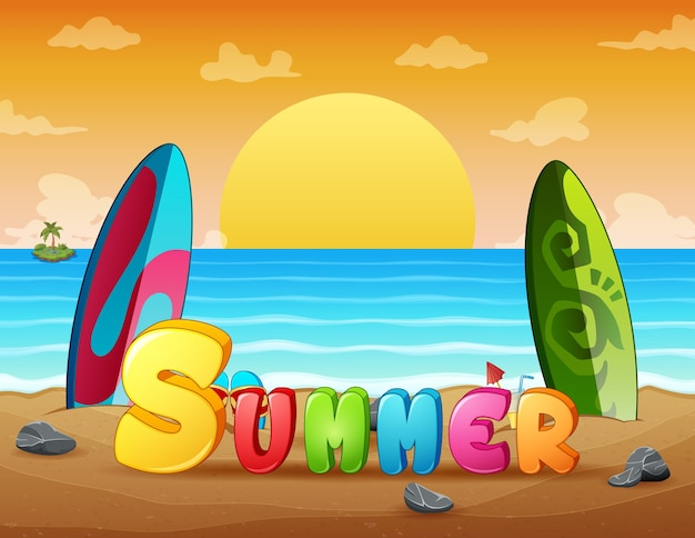 Sommerferien-sonnenuntergangstrandszene mit surfbrettern auf sand