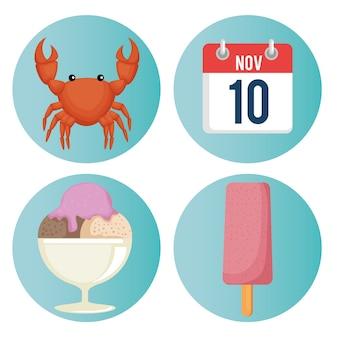 Sommerferien stellen ikonenvektor-illustrationsdesign ein