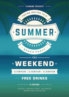 Sommerferien-strandfest-typografie-plakat