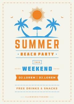 Sommerferien-strandfestflieger und typografievektor entwerfen schablone.