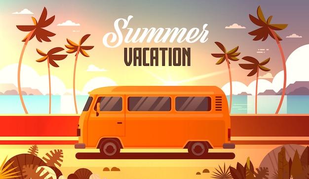 Sommerferien surfbus sonnenuntergang tropischen strand retro surfing vintage