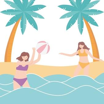 Sommerferien-tourismus-mädchen, die im meer mit strandballillustration spielen