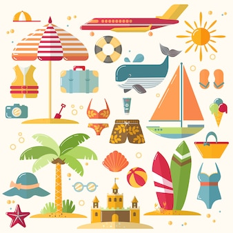 Sommerferien, tourismus und ferienwohnungsikonen. illustration von sommerferienzubehör