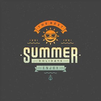 Sommerferien typografische abzeichen