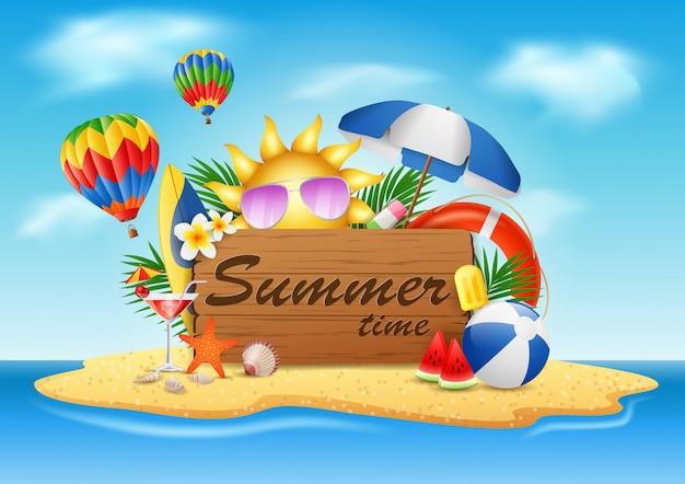 Sommerferien, typografische illustrationen auf strandinsel mit der weinlese hölzern.