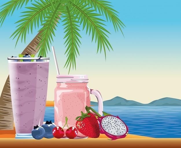 Sommerferien und strand im cartoon-stil