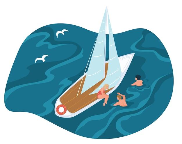 Sommerferien und urlaub, meeresreise von menschen, die das schwimmen im meer- oder ozeanwasser genießen. reicher wohlhabender charakter auf privater kreuzfahrt, segelboot oder kleiner yacht. mann und frau. vektor im flachen stil