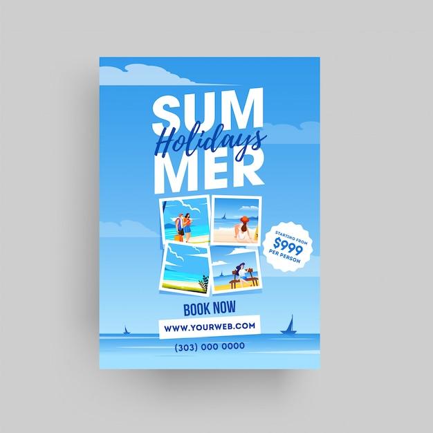 Sommerferien-website vorlage oder flyer design auf meerblick