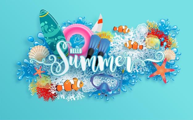 Sommerferiendesign mit strand bunt unter dem meeressandkorallenfisch