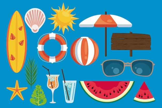 Sommerferienetikett mit festgelegten symbolen