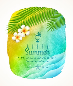 Sommerferiengruß - aquarellhintergrundfahne mit meereswellen, palmenzweigen und frangipani-blumen am ufer