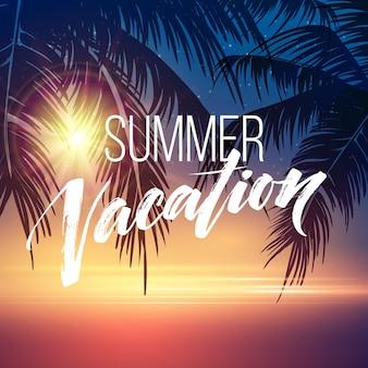 Sommerferienhintergrund mit palmensilhouetten