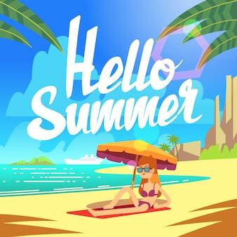Sommerferienhintergrund mit seestrand und entspannenden leuten.