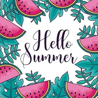 Sommerferienmuster von wassermelonen und von meerespflanze