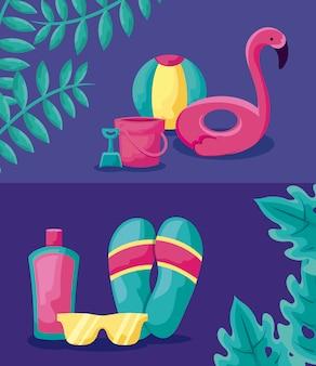 Sommerferienplakat mit float flämisch und set icons