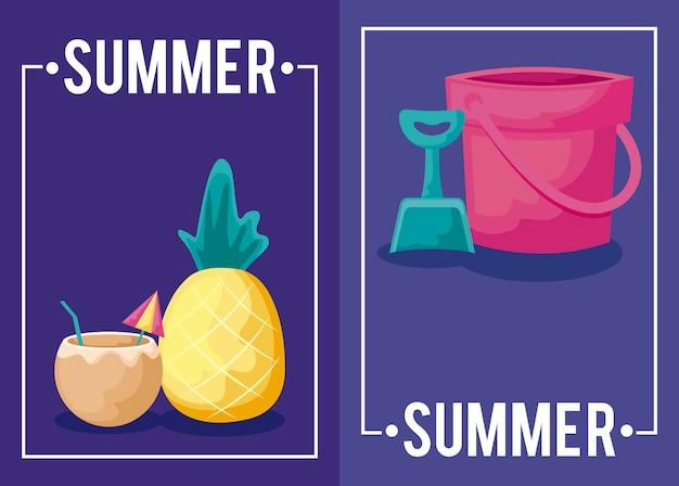 Sommerferienplakat mit ikonen der ananas und des satzes