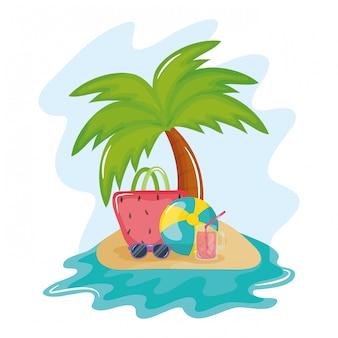 Sommerferienplakat mit insel und ikonen