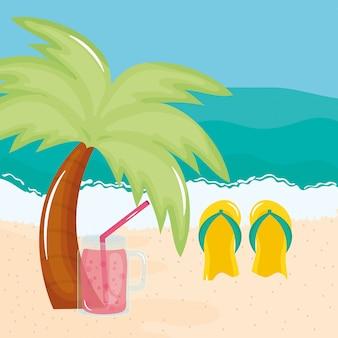 Sommerferienplakat mit sandalen und ikonen