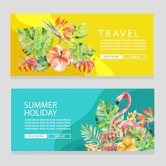 Sommerferienreisethemafahne mit flacher art der aquarellflamingovektor-illustration
