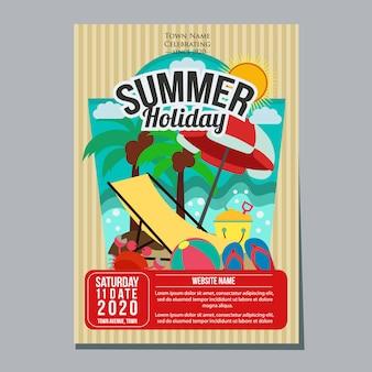 Sommerferienstrand entspannen sich plakatschablonen-vektorillustration