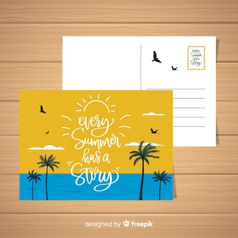 Sommerferienstrandlandschaftspostkarte