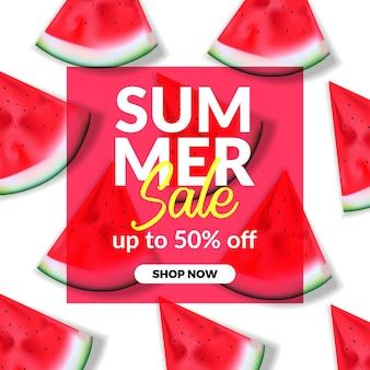 Sommerferienverkaufsangebotrabatt-fahnenschablone mit illustration der roten wassermelone
