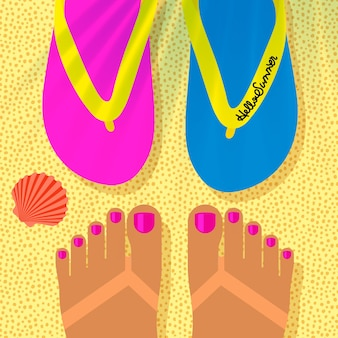 Sommerferienvorlage mit gebräunten frauenfüßen am strand und flip-flops-draufsicht
