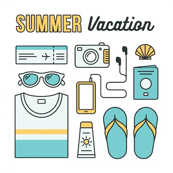 Sommerferienwohnungsikonen. urlaubsutensilien: kleidung, accessoires und reisedokumente, flach angeordnet.