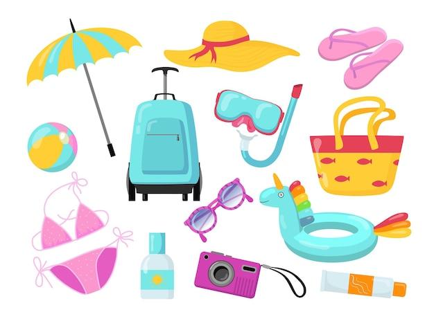 Sommerferienzubehör und ausrüstung flache illustrationen gesetzt