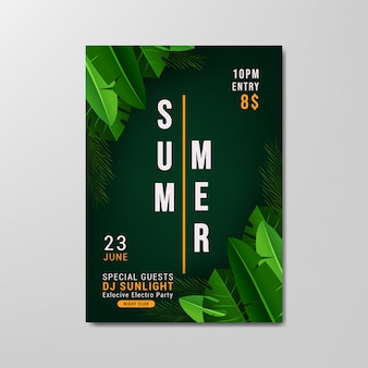 Sommerfest flyer vorlage illustration