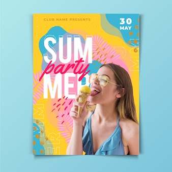 Sommerfest flyer vorlage mit foto