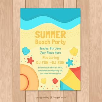 Sommerfesteinladung mit draufsicht des strandes