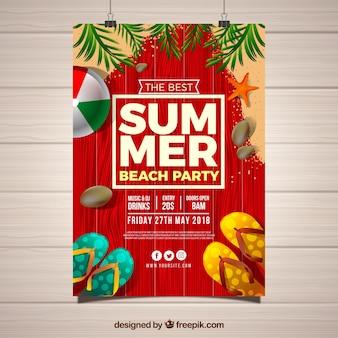 Sommerfesteinladung mit elementen in der realistischen art Kostenlosen Vektoren