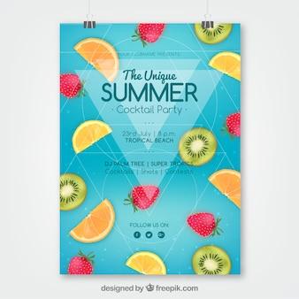Sommerfesteinladung mit früchten in der realistischen art