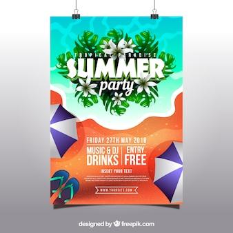 Sommerfesteinladung mit strand in der realistischen art Kostenlosen Vektoren