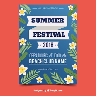 Sommerfestplakat mit blumenart