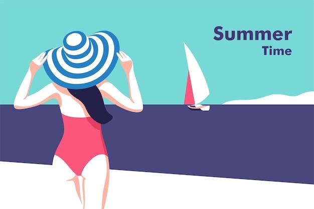 Sommerfesturlaub und reisekonzept mädchen am strand flyer oder posterdesign im minimalistischen stil